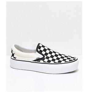 Checkered Platform Slip-on Vans